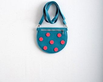 Polka Dot Felt Bag Children's Bag Kids Bag Young Girl's Purse Felt Bag Kawaii Cute Bag Mini Cross Body Bag Neon Blue Neon Pink Fun Small Bag