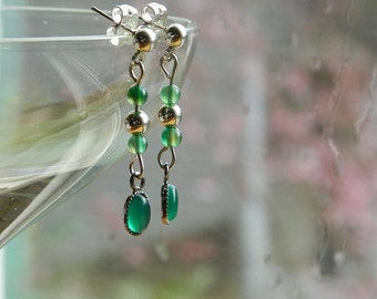 Spring Rain ~ Delicate Gemstone Dangle Earrings - Green Agate, Stud, Stainless Steel