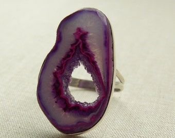 Sterling Silver and Purple Geode Druzy Crystal Ring Estate Jewelry Ring