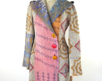 kantha quilt jacket, kantha coat, kantha jacket, hooded coat,  reversible kantha coat - size medium plus