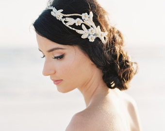 Bridal Hair Piece. Bridal Hair Vine. Gold Beaded Flower Crown {Olesya}