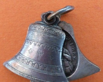 Antique French Religious  Medal slide Bell  Our Lady of Laghet  Old Pendant Charm Jewelry