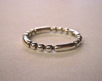 Vintage 925 Sterling Silver Beaded Stacking Ring