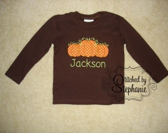 Baby Toddler Boys Embroidered Personalized Monogrammed Fall Halloween Thanksgiving Pumpkin Trio Applique Brown Long Sleeve Shirt or bodysuit