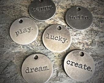 antiqued silver typed tokens charms inspirational words - happy play hello lucky dream create industrial jewelry mixed media findings, 6 pcs