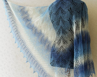 Hand Knit wool woman shawl in blue and white color