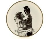 Till Death Do Us Part Plate Wedding Altered Vintage Dance Couple Porcelain Skeleton Ribbon Present Bride Groom Halloween  Home Decoration