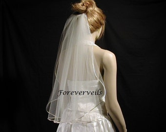Satin Edge Elbow wedding veils - Full 1 tier bridal veil - diamond white, ivory or white