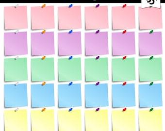Digital Clipart-Pastel Sticky Notes-Post It-Clipart Notes-Push Pins-Office Clipart-Office Notes-Scrapbook Elements-Instant Download Clip Art
