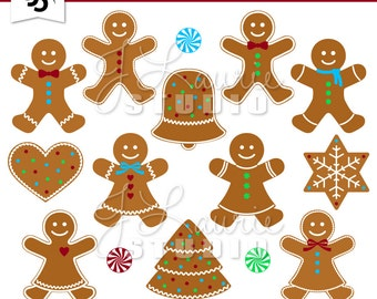 Digital Clipart-Gingerbread Cookies-Holiday Clipart-Christmas-Gingerbread Man-Peppermints-Scrapbooking-Instant Download Clip Art