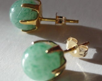 14K gold aventurine stud  earrings, 14K gold round studs, 14K solid gold green stone earrings,7mm aventurine Studs Earrings 14k Yellow Gold