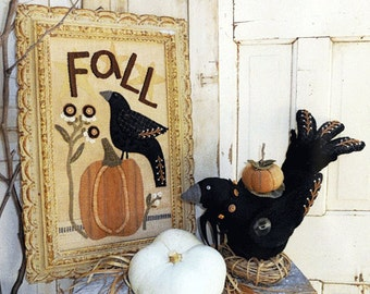 Crows and Pumpkins- Primitve Pattern with Stuffed Wool Crow and Fall Wool Applique -Pumpkin - Crow  - #HTH352