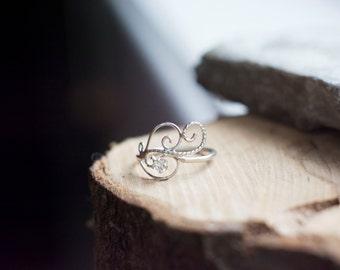 Swirly Elvish Engagement Ring in Sterling Silver with Zirconia - Unique Curlicue Filigree Elf Elven Alternative Dainty