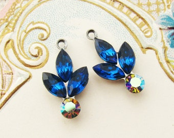 Swarovski Rhinestone Flower Capri Blue & Vitrail  Leaf Drops Antiqued Silver Ox Flower Charm Vintage Glass Stone Dangles - 2