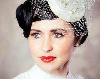Bridal Pillbox Hat Fascinator with Birdcage Veil - Birdcage Veil, pearls - white cocktail hat