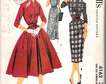 """Vintage 1957 McCall's 4162 Teen Size Jumper or Dress Sewing Pattern Size 10 Bust 30"""""""