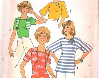 """Vintage 1978 Simplicity 7398 Stretch Knit Tops Sewing Pattern Size 12 -14 Bust 34"""" - 36"""" UNCUT"""