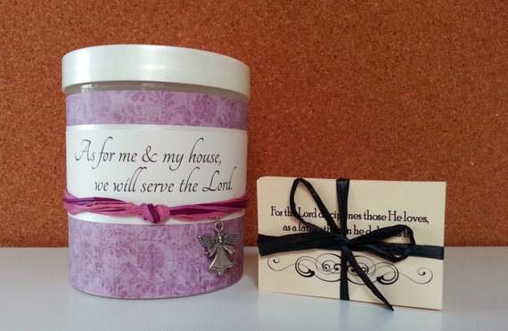 "Scripture Jar with 48 Bible Verse Cards, As For Me and My House, Christian gift, Hostess Gift, ""Country Violet"""