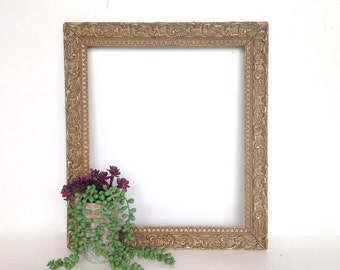 Antique Gold Picture Frame, Ornate Wood and Gesso Frame with Flowers and Leaves, 13x11 Opening, Antique Wood Frame, Gilded Frame