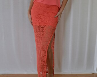 SALE Side Slit Lace Skirt in Coral