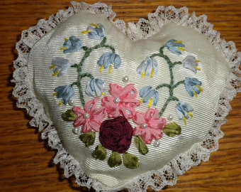 Heart shaped ribbon embroidered pincushion