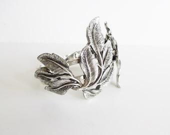Vintage Silver Leaves Hinged Cuff Bracelet