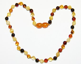 Multicolor round beads Baltic amber teething necklace for your baby 16v