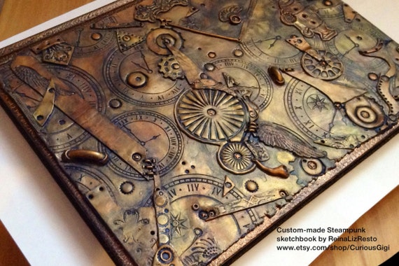 Steampunk Wedding Guest Book Alternative - Made To Order,  Steampunk sketchbook