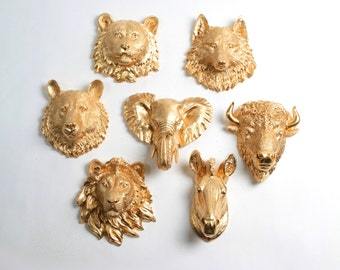 Faux Taxidermy - Create Your Own Zoo - Pick Any Five (5) Gold Miniature Faux Taxidermy Pieces From the Picture to Create Your Own Zoo