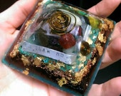 Ramble On Handstamped Orgonite Pyramid // Gold Leaf Crushed Turquoise