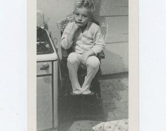 Small Boy in Kitchen High Chair, 1948: Vintage Snapshot Photo (67484)
