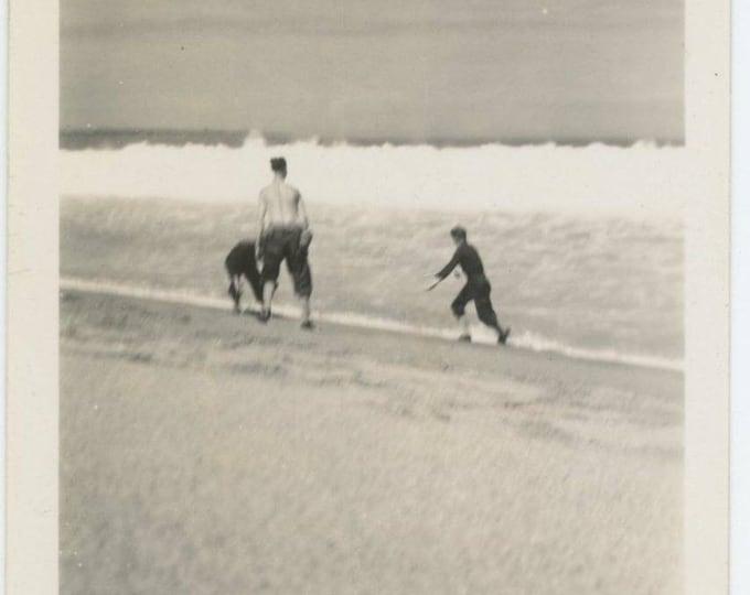 Vintage Snapshot Photo: Figures in Surf, c1930s-40s (69500)