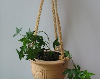 Vintage Hanging Planter - Stoneware Hanging Planter with Jute Cord