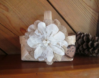 Small Personalized Rustic Flower Girl Basket - Wedding Basket - Flower Girl Basket - Burlap Flower Girl Basket - Rustic Wedding -Flower Girl