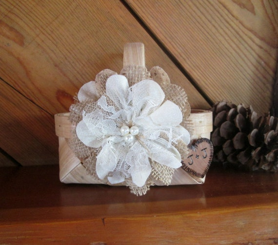 Flower Girl Baskets Small : Small personalized rustic flower girl basket by