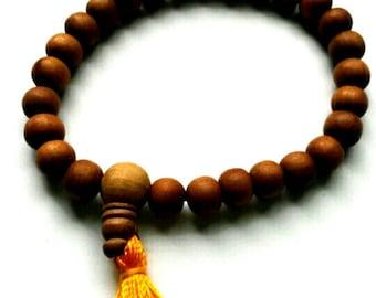 Sandalwood Beads - 27  8mm Wooden Beads - Natural Sandalwood Bracelet - Mala Bracelet