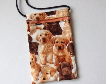 Pouch Zip Bag Labrador DOG Fabric.  Great for walkers, markets, travel. Cell phone pouch. small fabric purse. puppy pouch. Labrador dogs