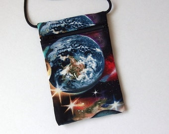 Pouch Zip Bag PLANETS EARTH Fabric.  Great for walkers, markets, travel.  Cell Phone Pouch. Small fabric Purse. Earth Stars Galaxy