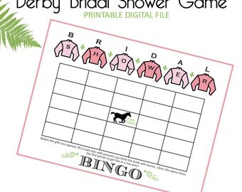 Kentucky Derby Bridal Shower - Derby Bridal Shower - Bridal Shower - Horse Racing Shower - Race To The Altar - BINGO - Game - Printable