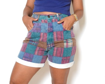 Vintage 80's Patchwork Denim High Waisted Shorts Sz 32W