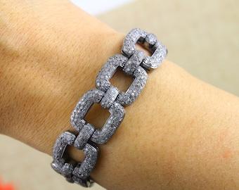 Pave Diamond Bracelet, Diamond Bracelet, Pave Bracelet, Pave Link Bracelet, Pave Square Bracelet, Pave Art-Deco, Oxidized Silver. (BRAC-005)
