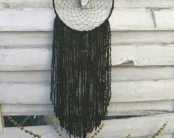 Black Boho Dreamcatcher with yarn falls, wallhanging homedecor