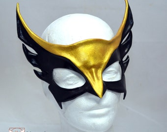 Made To Order HawkGirl Inspired Black and Gold Leather Cosplay Mask