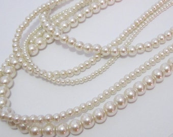 Multi Strand Pearl Necklace Pearl Statement Necklace Long Multi Layered Pearl Necklace Ivory Pearl Necklace Wedding Jewelry