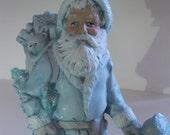 Vintage Santa ceramic blue with glitter, ceramic pottery, vintage santa, cottage christmas,