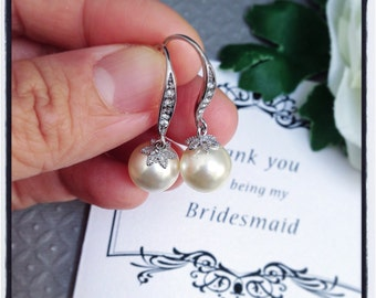 Bridesmaid earrings, Bridesmaid earrings pearl, Bridesmaid earrings crystal, Bridesmaid earrings set, Bridesmaid jewelry, Earrings