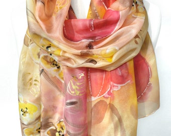 Hand Paint Silk Scarf. Birthday Gift for Her. Tulip Floral Scarf. Silk Painting. Silk Shawl. Unique Handmade Scarf. 18x71in Ready2Ship