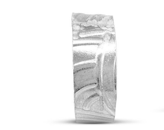 Sterling Silver Curve Texture Ring