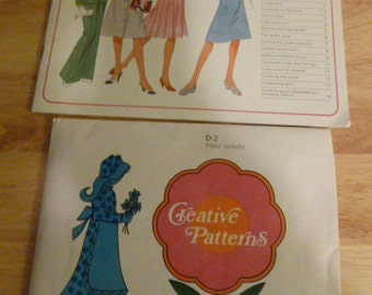 Creative Patterns Fitted Jackets D2 Pattern Uncut Vintage 1976