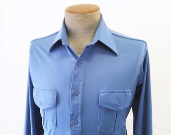 1970s Esquire Men's Blue 100% Polyester Disco Era Vintage Long Sleeve Blue Shirt - Size MEDIUM